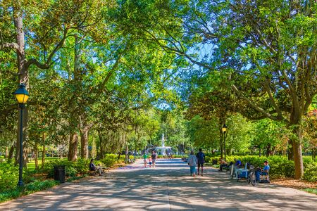 Families Walking into Forsyth Park