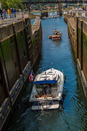 Boats Passing Through Locks