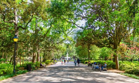 SAVANNAH, GEORGIA - April 29, 2019: Savannah is the oldest city in Georgia. From the historic architecture and parks to the shops of River Street, Savannah attracts millions of visitors annually.