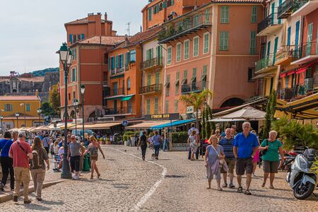 Tourists Walking Through Villefranche