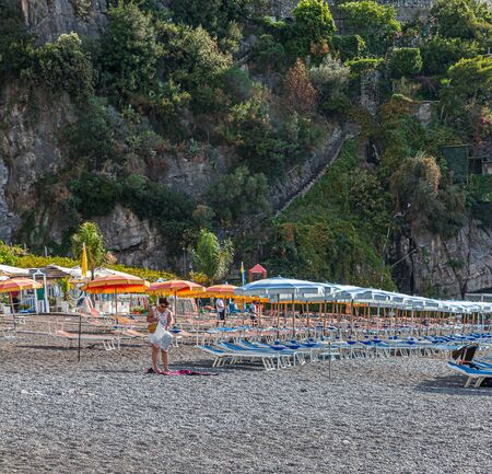 POSITANO, ITALY - September 26, 2017: Positano is a town on the Amalfi Coast in Italy. Its rapid growth from a small fishing village to an international destination is due to the rise in tourism.