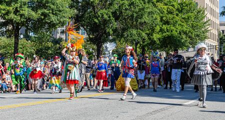 ATLANTA, GEORGIA - August 31, 2019: The annual DragonCon parade attracts over 30,000 participants and twice as many spectators