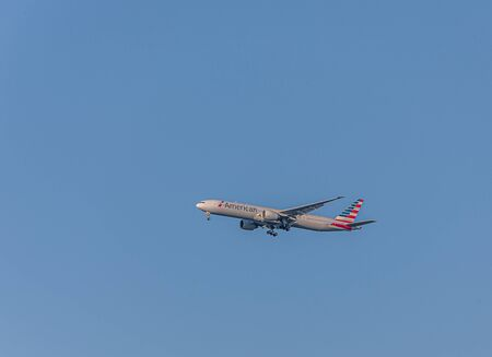 MIAMI, FLORIDA - November 25, 2017: American Airlines is the world's largest airline when measured by fleet size, revenue, scheduled passengers carried, and number of destinations served. Éditoriale