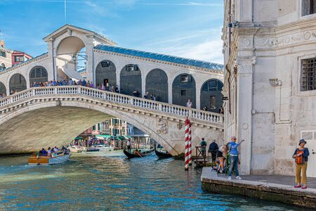 VENICE, ITALY - September 28, 2017: Venice is the capital of the Veneto region of Italy and is spread over 118 islands. Only 55,000 people live in the city proper, that many visit the city each day. Editoriali