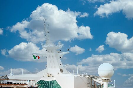 Ships Communication Tower with Mexican Flag