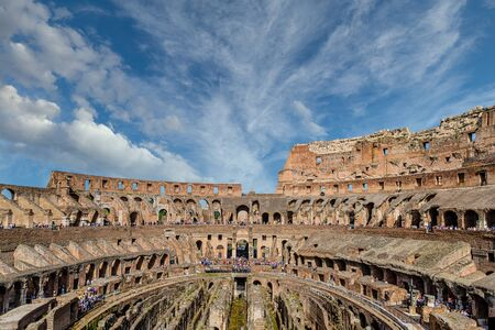 Roman Coloseum with Many Tourist