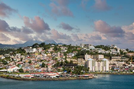 Colorful Homes and Condos on Hill in Martinique