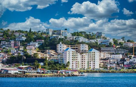 Colorful Hotel on Coast of Martinique Stock Photo