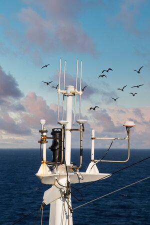 White Satellite Equipment on Blue Sea