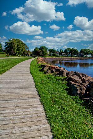 Wood Boardwalk by Rock Seawall