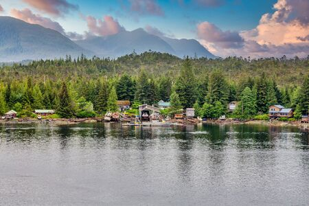 Fishing Houses Near Ketchikan Alaska Фото со стока