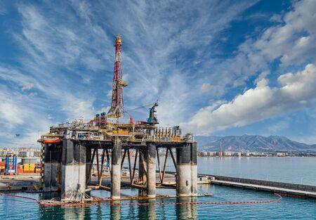 Oil Drilling Rig in Malaga Spain Harbor