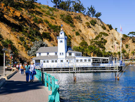 AVALON, CALIFORNIA - November 17, 2019: Avalon is a resort community with the waterfront dominated by tourism-oriented businesses on Santa Catalina Island, in the Channel Islands, off Los Angeles.