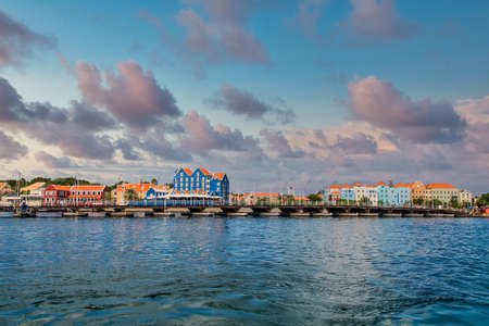 Moving Pontoon bridge at the mouth of the harbor in Willemstad, Curacao