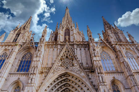 A Beautiful Ornate Steeples and Trim on Barcelona Church Foto de archivo