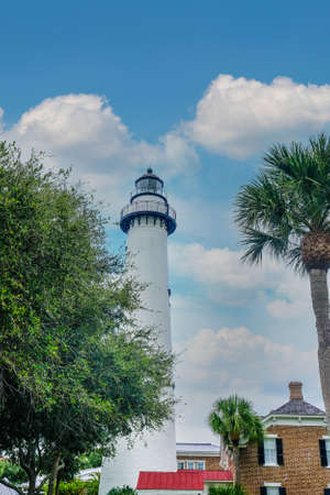 View of saint simons lighthouse under blue sky
