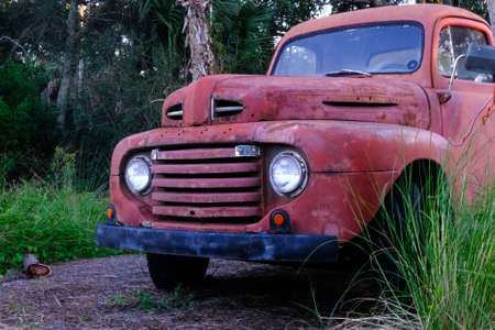 Old Red Truck by Grass