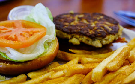 Golden French Fries with Crab Cake Sandwich