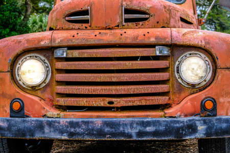 Old Truck Grill with Headlights On
