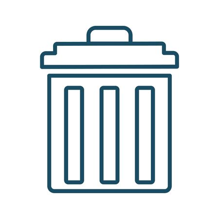 High quality dark blue outlined trash can, garbage bin icon. Pictogram, icon set, bundle. Useful for web site, banner, greeting cards, apps and social media posts. Stockfoto