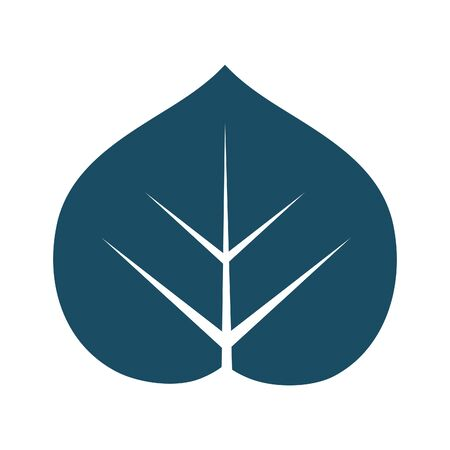 High quality dark blue flat leaf icon. Pictogram, nature, ecology, environment. Useful for web site, banner, greeting cards, apps and social media posts. Zdjęcie Seryjne