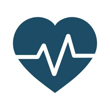 High quality dark blue flat heart beat, beat per minute, pulse icon. Pictogram, icon set, illustration. Useful for web site, banner, greeting cards, apps and social media posts.