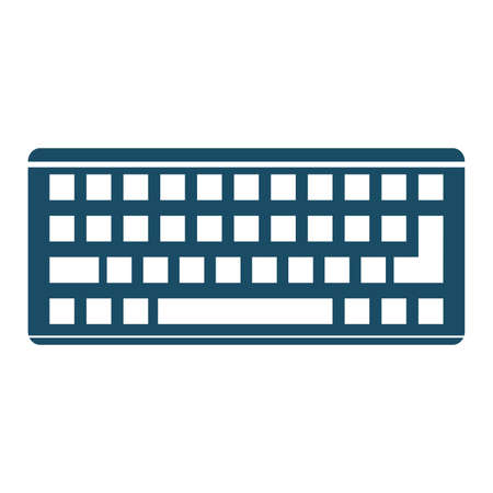 High quality dark blue flat keyboard icon. Pictogram, icon set, illustration. Useful for web site, banner, greeting cards, apps and social media posts.