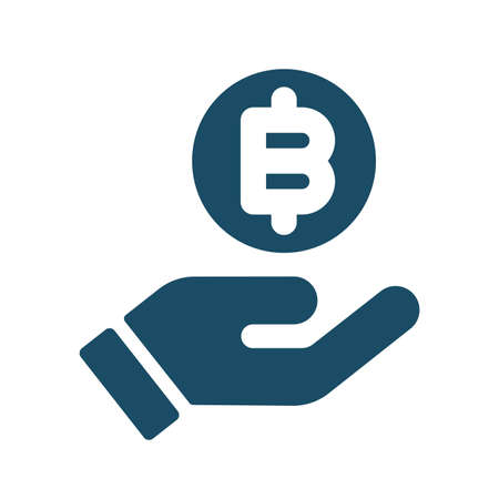 High quality dark blue flat purchase bitcoin icon.Block chain, digital money, crypto currency. Useful for web site, banner, greeting cards, apps and social media posts. Banco de Imagens