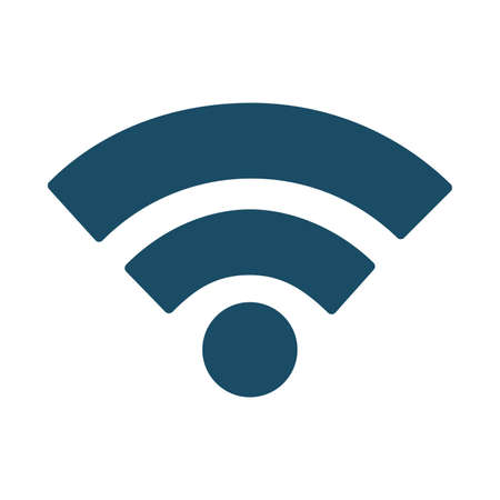 High quality dark blue flat wifi signal icon. Pictogram, icon set, illustration. Useful for web site, banner, greeting cards, apps and social media posts. Stockfoto