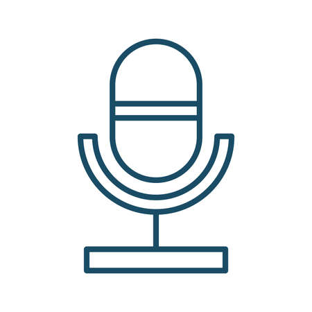 High quality dark blue outlined microphone icon. Pictogram, icon set, illustration. Useful for web site, banner, greeting cards, apps and social media posts. Stock Photo