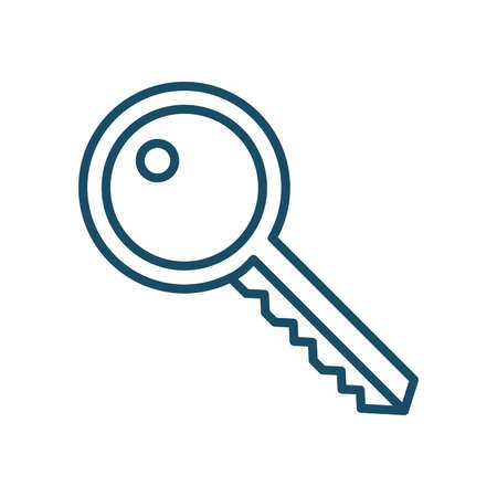 High quality dark blue outlined door key icon. Pictogram, icon set, illustration. Useful for web site, banner, greeting cards, apps and social media posts.