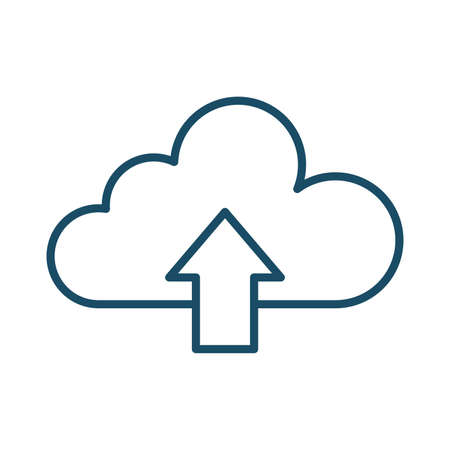 High quality dark blue outlined upload cloud icon on white background. Pictogram, icon set, illustration. Useful for website design, banner, print media, mobile apps and social media posts.