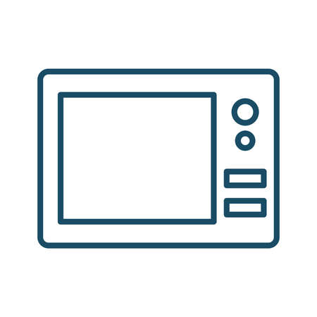 High quality dark blue outlined microwave icon on white background. Pictogram, icon set, illustration. Useful for website design, banner, print media, mobile apps and social media posts.
