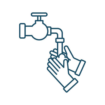 High quality dark blue outlined washing hands icon on white background. Pictogram, icon set, illustration. Useful for website design, banner, print media, mobile apps and social media posts. Banco de Imagens