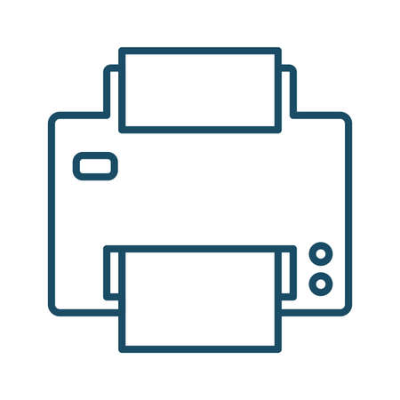 High quality dark blue outlined printer icon on white background. Pictogram, icon set, illustration. Useful for website design, banner, print media, mobile apps and social media posts.