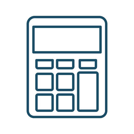 High quality dark blue outlined calculator icon on white background. Pictogram, icon set, illustration. Useful for website design, banner, print media, mobile apps and social media posts. Banco de Imagens