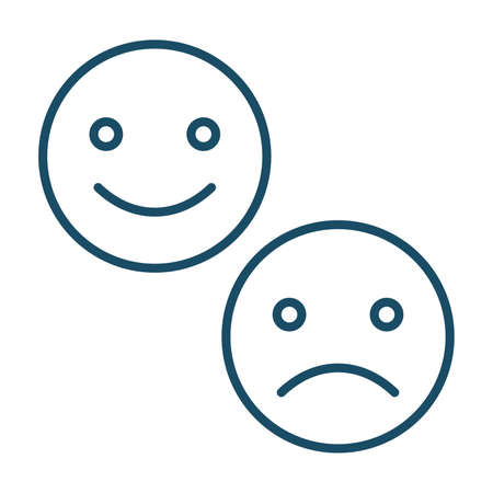 High quality dark blue outlined smile and upset emotion icons on white background. Pictogram, icon set, illustration. Useful for website design, banner, print media, mobile apps and social media posts.