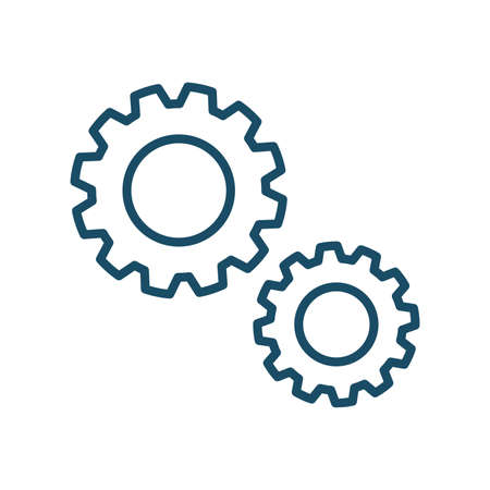 High quality dark blue outlined gear, cogwheel icon. Pictogram, icon set, bundle. Useful for web site, banner, greeting cards, apps and social media posts.