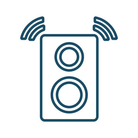 High quality dark blue outlined sound speaker icon on white background. Pictogram, technology, object. Useful for web site, banner, greeting cards, apps and social media posts.
