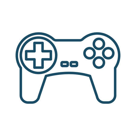 High quality dark blue outlined game console controller, gamepad, joystick icon on white background. Pictogram, technology, object. Useful for web site, banner, greeting cards, apps and social media posts. Banco de Imagens