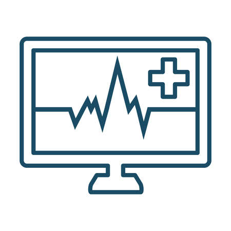 High quality dark blue outlined heart rate monitor icon. Pictogram, technology, health. Useful for web site, banner, greeting cards, apps and social media posts. Banco de Imagens