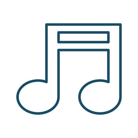High quality dark blue outlined music note icon. Pictogram, icon set, bundle. Useful for web site, banner, greeting cards, apps and social media posts.