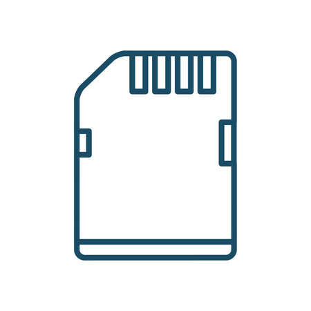 High quality dark blue outlined micro card reader icon on white background. Pictogram, technology, object. Useful for web site, banner, greeting cards, apps and social media posts.