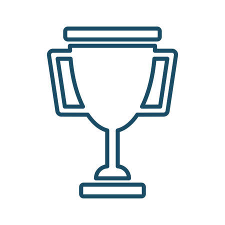 High quality dark blue outlined trophy, award, prize icon. Pictogram, icon set, illustration. Useful for web site, banner, greeting cards, apps and social media posts. Banco de Imagens