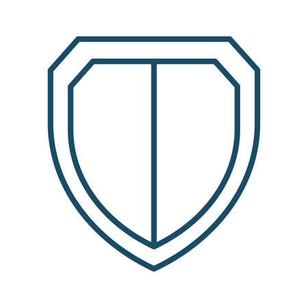 High quality dark blue outlined shield, security icon. Pictogram, icon set, bundle. Useful for web site, banner, greeting cards, apps and social media posts. Banco de Imagens