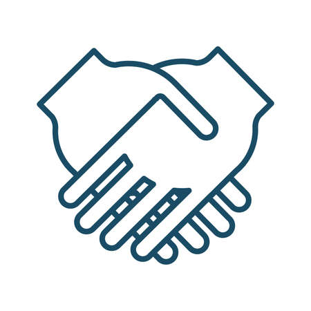 High quality dark blue outlined hand shake icon. Pictogram, icon set, illustration. Useful for web site, banner, greeting cards, apps and social media posts.