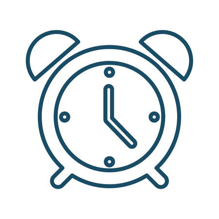 High quality dark blue outlined alarm clock icon on white background. Pictogram, technology, object. Useful for web site, banner, greeting cards, apps and social media posts.