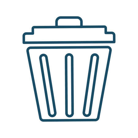 High quality dark blue outlined trash can, garbage bin icon. Pictogram, icon set, bundle. Useful for web site, banner, greeting cards, apps and social media posts. Banco de Imagens