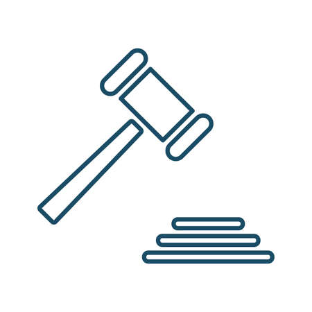 High quality dark blue outlined judge gavel icon on white background. Pictogram, icon set, illustration. Useful for web site, banner, greeting cards, apps and social media posts.