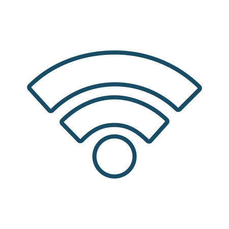 High quality dark blue outlined wifi, wireless connection icon. Pictogram, icon set, bundle. Useful for web site, banner, greeting cards, apps and social media posts. Banco de Imagens